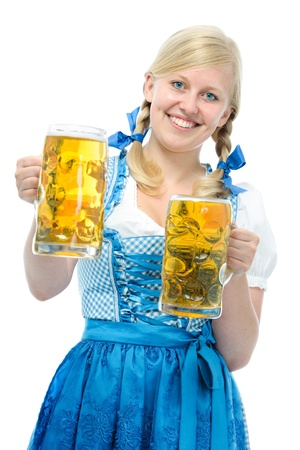 steins: Smiling woman with dirndl holds Oktoberfest beer steins
