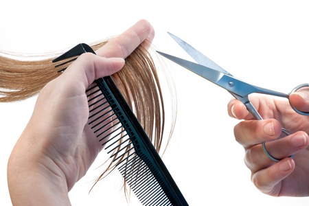 strand of hair: hands of hairdresser cutting woman�s  hair isolated on white