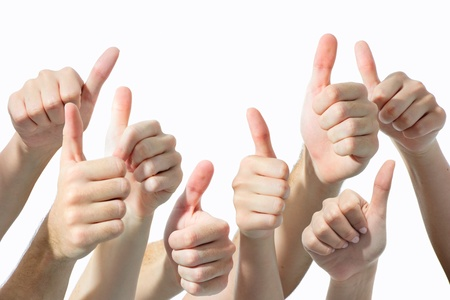 expressing positivity: Many hands giving thumbs up, isolated on white background Stock Photo