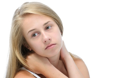 depressed girl: Teenage girl in a depressed state. Isolated on white Stock Photo