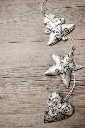 christmas time: Christmas decoration hanging over the wooden background Stock Photo
