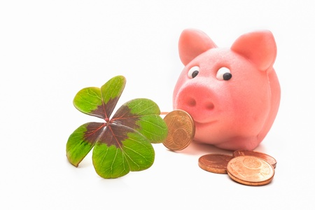 fourleaved: Four-leafed clover and piggybank with money