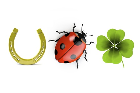 3d collection of good luck symbols isolated on white Foto de archivo