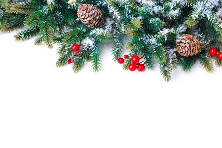 christmas fir: Christmas decoration Holiday decorations isolated on white background Stock Photo