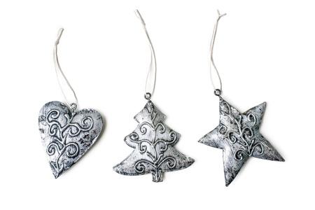 estrellas de navidad: Decoración de Navidad decoraciones de vacaciones aislados sobre fondo blanco Foto de archivo