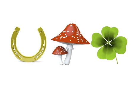 fourleaved: 3d collection of good luck symbols isolated on white Stock Photo