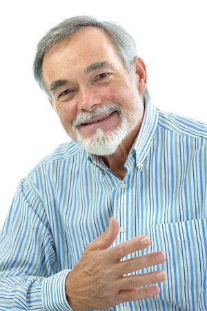 jubilados: Retrato de hombre guapo haciendo un gesto en el fondo blanco