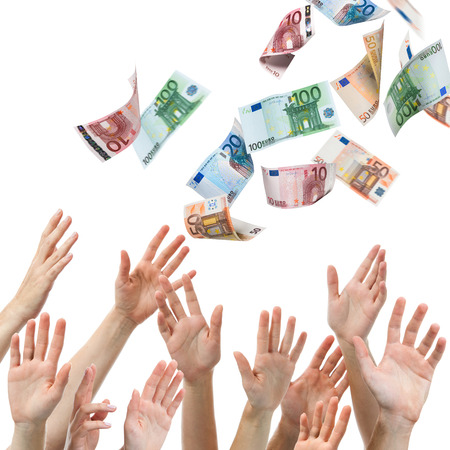 wasting: Hands reaching for Euro money flying in the air