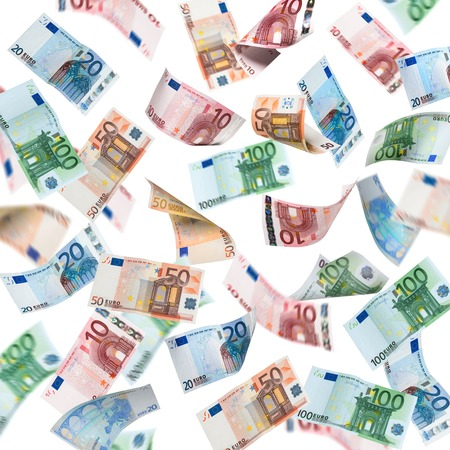 euro banknote: Falling Euro banknotes isolated on white background