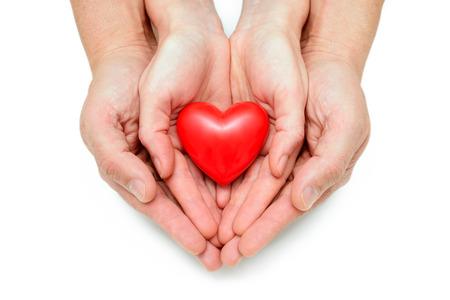 corazon en la mano: Coraz�n rojo en las manos del hombre aislado en blanco Foto de archivo
