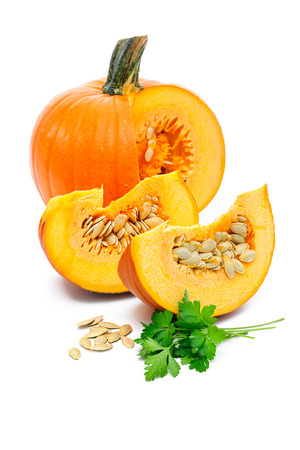 Fresh pumpkin slices isolated over white background photo