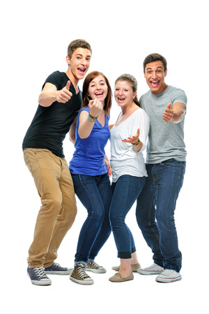 Group of the college students  isolated on a white background photo
