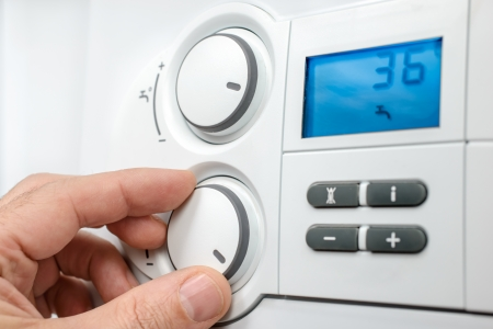 Bedieningspaneel van het gas boiler voor warm water en verwarming Stockfoto