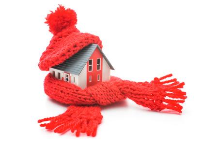 Thermische isolatie, huis energie-efficiëntie concept geà ¯ soleerd op wit Stockfoto