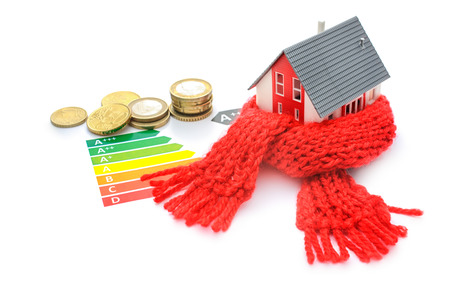 insulating: Thermal insulation, house energy efficiency concept isolated on white Stock Photo