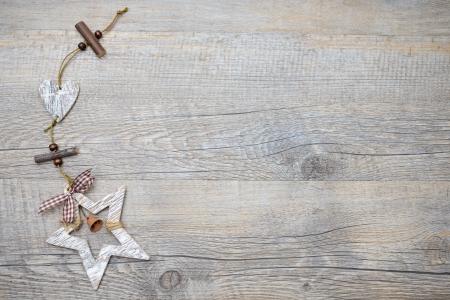 birch bark: Christmas decoration over a vintage wooden background