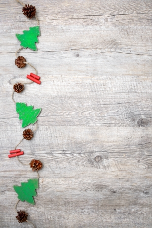 Vintage christmas decoration on the wooden background