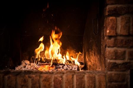 벽난로에 화재. 화재에 불타는 장작의 근접 촬영