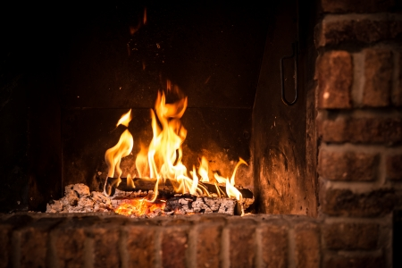burnt wood: Fire in fireplace. Closeup of firewood burning in fire Stock Photo