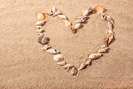 heart in sand: small seashells in the shape of a heart on a sandy beach