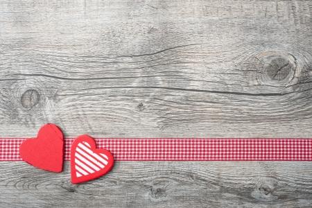 Valentines Day achtergrond met patroon harten op oude houten