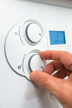 Control panel of the gas boiler  for hot water and heating Stock Photo
