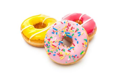dough nut: Group of glazed donuts, isolated on white background