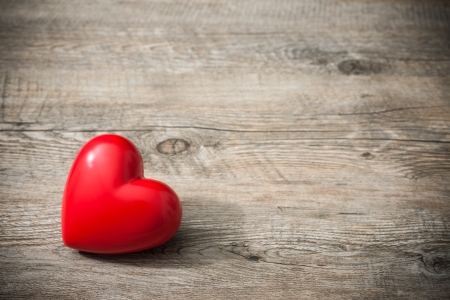 the old days: Red heart on wooden background, Valentines Day background