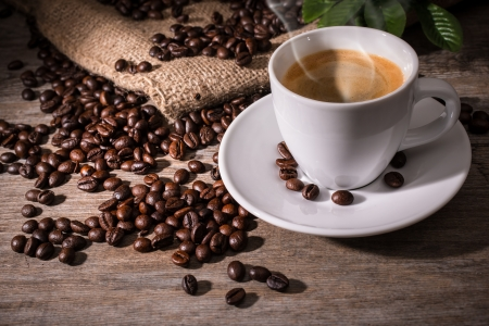 steaming cup of coffee: Espresso Coffee