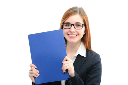 Happy young woman holding files for a job interview photo