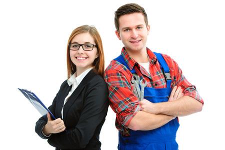 Leerling klusjesman en kantoor vrouw geïsoleerd op witte achtergrond Stockfoto