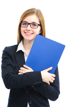 Happy young woman holding files for a job interview