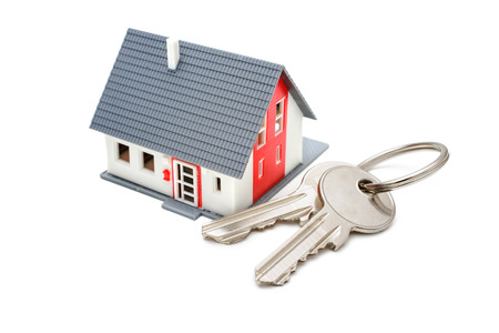 House with keys, home buying, ownership or security concept photo