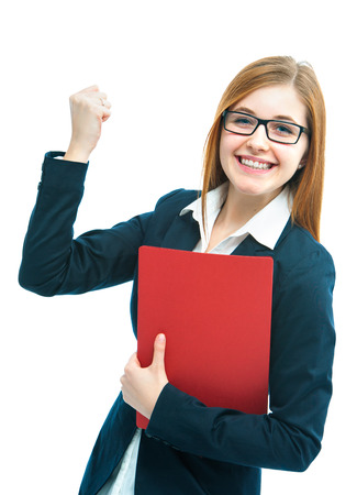 candidate: Portrait of excited female job candidate with CV Stock Photo