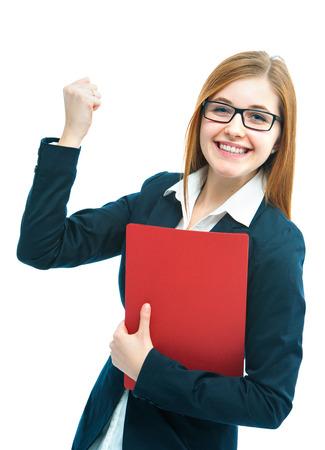 cv: Retrato de emocionados candidato del trabajo femenino CV
