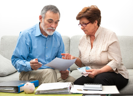 senior couple worrying about their money situation Banco de Imagens