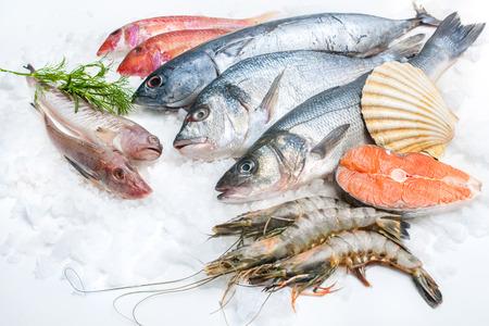 alimentos congelados: Mariscos en el hielo en el mercado de pescado