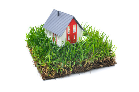 Huis in het groene gras. Onroerend goed concept. Geïsoleerd op witte achtergrond Stockfoto