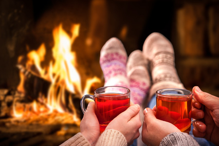 lodging: Couple relaxing with mulled wine at romantic fireplace on winter evening