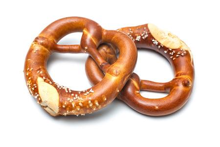 Appetizing bavarian pretzels isolated on white background 写真素材