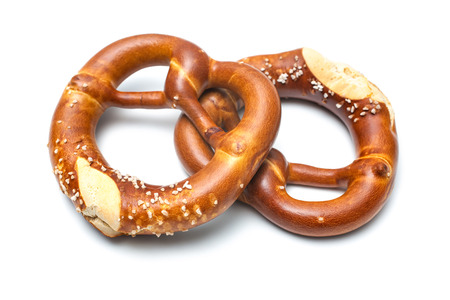 Appetizing bavarian pretzels isolated on white background Standard-Bild