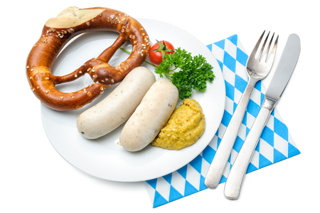 sweet mustard: Bavarian meal. White sausages with sweet mustard and pretzels