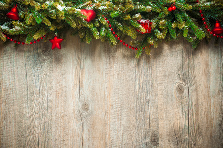 holiday: vintage christmas decoration over old wooden background