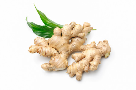 Fresh ginger with leaves isolated on white background