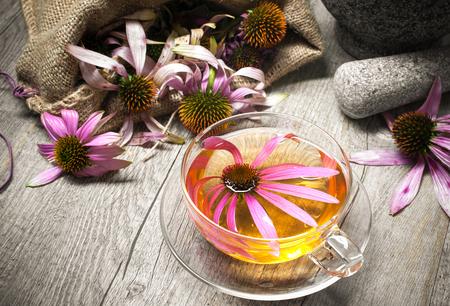 Echinacea purpurea. Cup von Echinacea Tee auf Holztisch