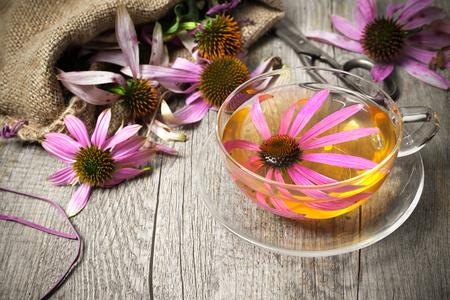 エキナセア。木製のテーブルにエキナセア茶のカップ 写真素材