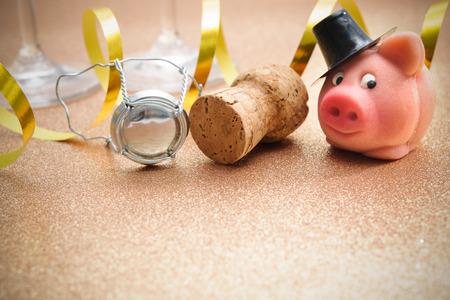 Lucky pig and cork from champagne bottle in front of two glasses