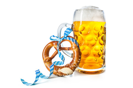 Bavarian beer mug with pretzel isolated on white background