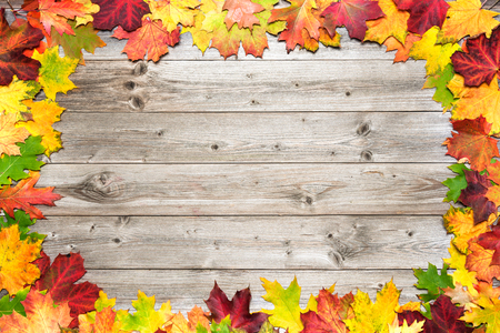 space background: Autumn maple leaves over old wooden background with copy space Stock Photo