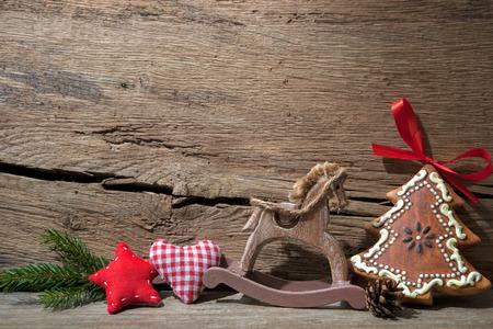 Vintage christmas decoration over old wooden background Stockfoto